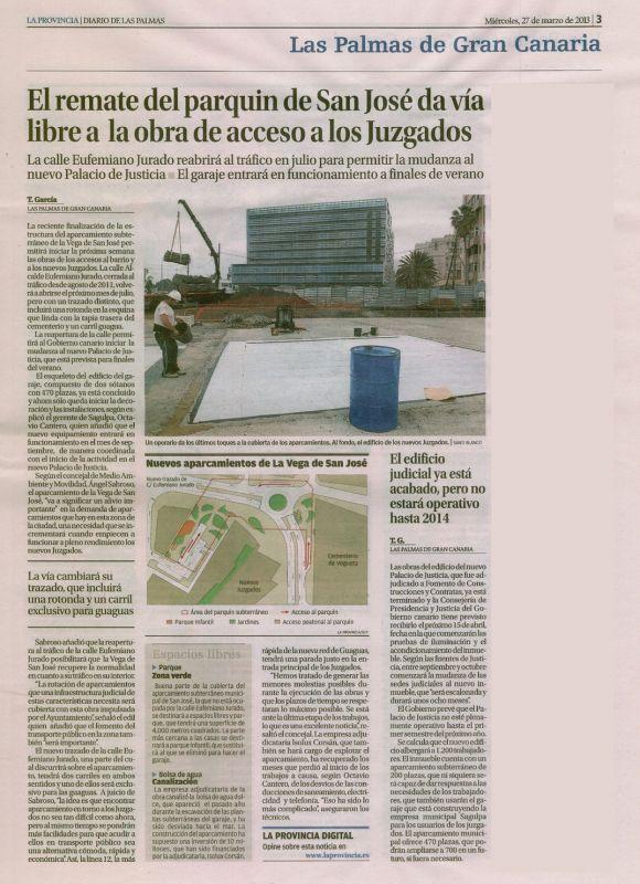 El remate del parquin de San José da vía libre a la obra de acceso a los Juzgados